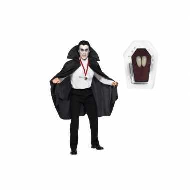 Halloweenkleding vampier pak inclusief hoektanden