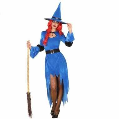 Halloweenpak heksen enge jurk blauw dames