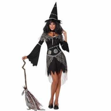 Halloweenpak heksenjurk zwart dames