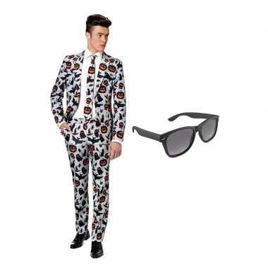 Verkleed halloween afgebeeld net heren pak maat 50 (l) gratis zonnebr