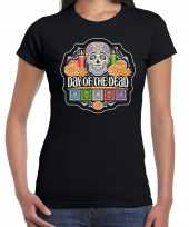 Day of the dead dag doden halloween verkleed t-shirt pak zwart dames