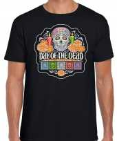 Day of the dead dag doden halloween verkleed t-shirt pak zwart heren